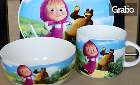 Детски порцеланов сервиз по избор от 4 модела с любими анимационни герои
