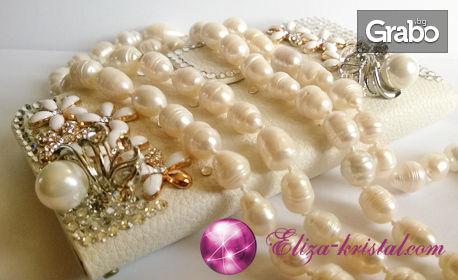 Комплект огърлица, обеци и гривна от естествени перли