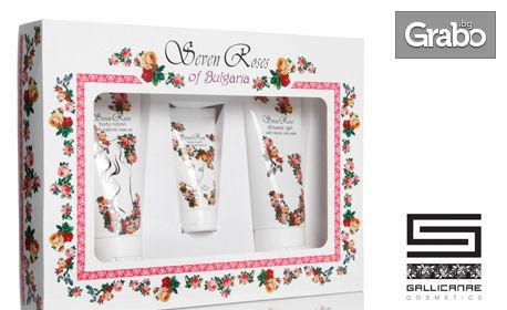 """Комплект от серията """"Seven Roses"""" с дневен крем за лице, лосион за тяло и душ-гел"""