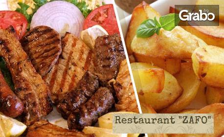 1300гр плато на плоча за компанията - сръбска колбасица, свински и пилешки карета, и картофки