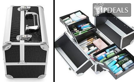 Професионален куфар за грим и козметика с ключ