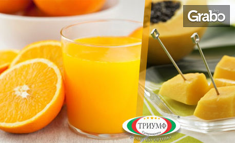 Половин литър фреш от пъпеш и портокал