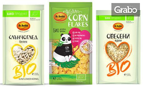 Био продукти за вкъщи! Ленено или слънчогледово семе, овесени ядки, корнфлейкс, какаов крем, мюсли, зехтин, кокосово масло