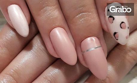 Изграждане на нокти с гел, плюс лакиране с гел лак и 2 декорации