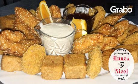 1.2кг плато! Пилешки хапки, топено сирене с корнфлейкс, сирене и кашкавал пане, млечен сос и сладко
