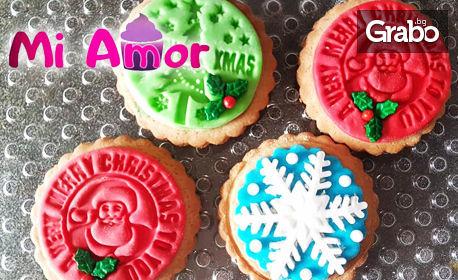 10 броя ръчно направени Коледни меденки със снимка на клиента или украса от захарно тесто