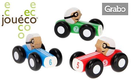 Чудесен коледен подарък за малчугана! Дървена състезателна ретро кола