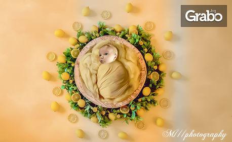 Професионална фотосесия за новородено бебе с 5 художествено обработени кадъра - на адрес на клиента