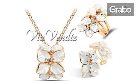"""Колие, обеци и пръстен """"Бяла роза"""" или """"Черна роза"""" с австрийски кристали и златно покритие"""