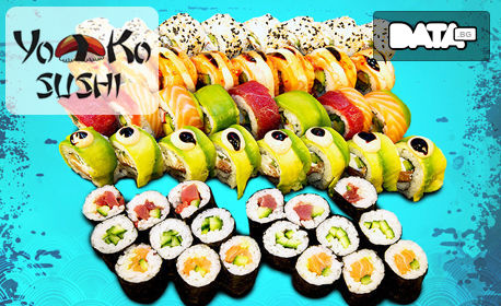 Екзотично хапване по избор! Суши сет с 24, 50 или 88 хапки, плюс 150мл соев сос Kikkoman