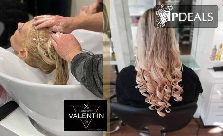 Боядисване на коса с професионална боя от салона, подстригване и сешоар