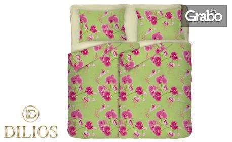 """Двоен спален комплект от сатениран памук """"Зелена орхидея"""" от 4 или 5 части"""