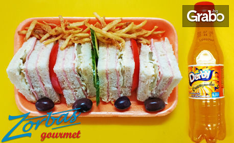 Клуб сандвич с шунка и кашкавал, домашен картофен чипс и бонус - безалкохолна напитка