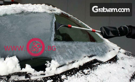 Стъргалка за лед и сняг за автомобил, плюс водоустойчива ръкавица с поларено покритие