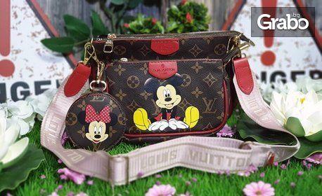 Дамска чанта и портмоне с Мики Маус
