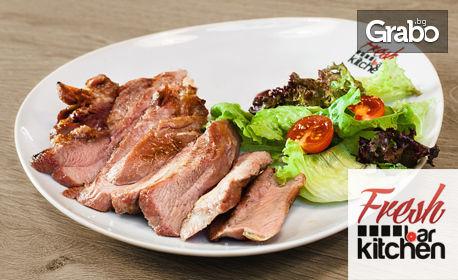 Комбо меню с пилешко, свинско, пуешко месце или пъстърва