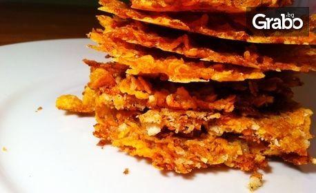 1, 2 или 3кг плато с хрупкави корнфлейкс банички със сирене, с безплатна доставка