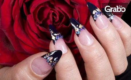 Маникюр с гел лак, или поставяне на гел върху естествен нокът, плюс 4 декорации и перли