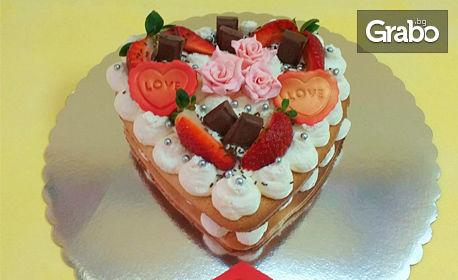 """За сладък Свети Валентин! Торта """"Сърце"""" с 8 парчета"""