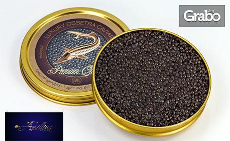 50гр черен хайвер от руска есетра, плюс 700мл водка Czechoslovakia