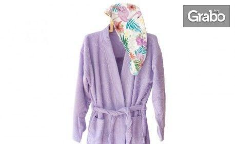 Коледен подарък! Дамски памучен халат с тюрбан Carmel by Aglika, в цвят и размер по избор
