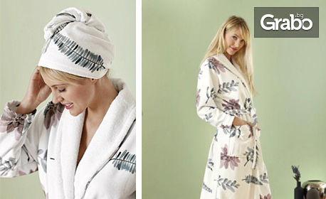 """Комплект за баня """"Дамско изкушение"""" с халат и тюрбан"""
