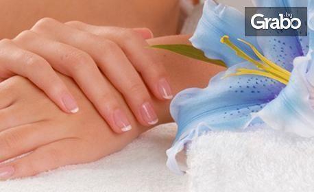 Маникюр с гел лак Shellac и Creative play, плюс 2 декорации и масаж на ръце с ароматна свещ