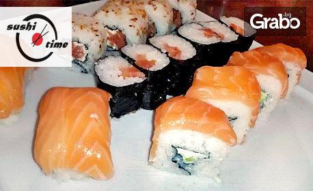Грабвай клечките! Суши сьомга сет с 16 броя хапки