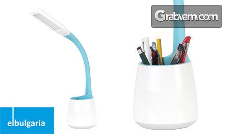 Настолна LED лампа с моливник - със сензорно включване и изключване