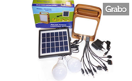 Соларен комплект за дейности на открито с фотоволтаичен панел, прожектор, 2 LED лампи и USB кабел