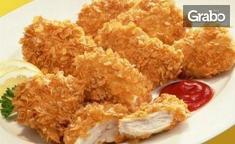 950гр плато - пилешки хапки пане, пилешки шишчета с бекон и пикантни картофки