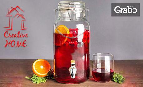 Стъклен буркан за напитки с канелка - с вместимост до 2 литра