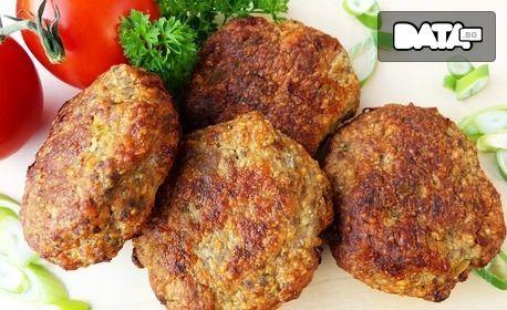 1.51кг плато с пържени кюфтенца, свински врат на скара, пилешки филенца, картофени ноазети и сос