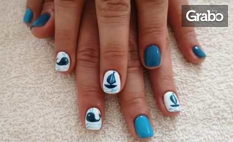 Изграждане на нокти с гел, плюс нанасяне на гел лак
