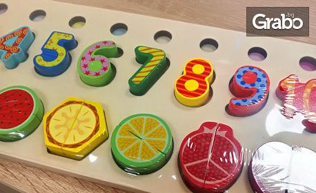 Образователна играчка за най-малките! Дървена дъска с цифри и плодове