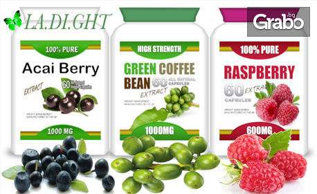 60 капсули екстракт по избор - зелено кафе, Акай бери или Малинови кетони