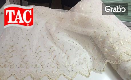 Перде от органза с пайети и бродерия - в бял или кремав цвят