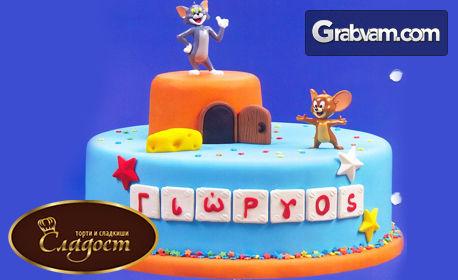 """Детска торта """"Том и Джери"""" с персонализиран надпис"""