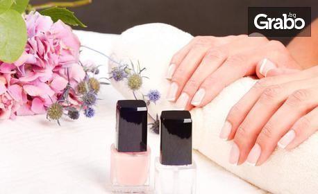 Маникюр с гел лак, поставяне на гел върху естествен нокът или изграждане с UV гел, плюс 4 декорации