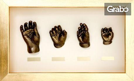 Персонализирана 3D отливка на бебешки ръчички или крачета, изработена с висококачествени материали, с безплатна доставка