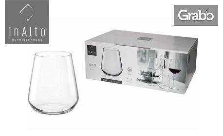 6 броя кристални чаши за уиски Bormioli Rocco Italy, серия InAlto Uno