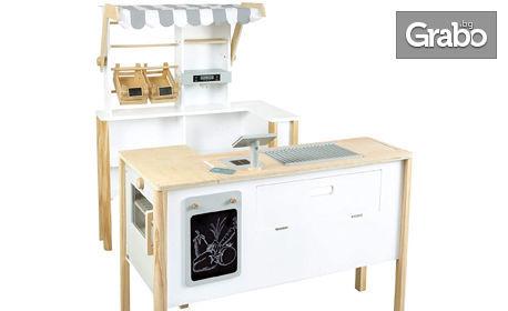Детски дървен комплект за игра Small Foot 2в1 - магазин и кухня