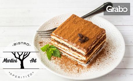Свински бон филенца върху талиатели или равиоли със спанак и рикота, плюс десерт по избор