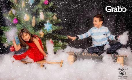 Семейна новогодишна фотосесия в студио, с всички обработени кадри