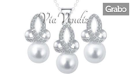 """Колие и обеци """"Азалия"""" с перла, австрийски кристали и златно покритие"""