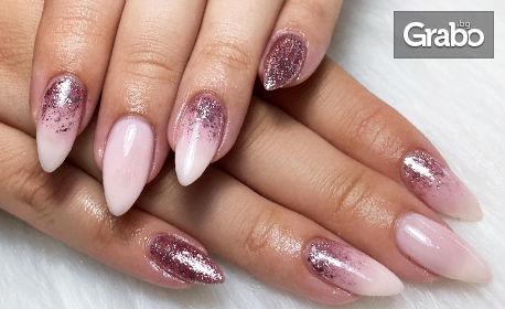 Укрепване на нокти с база или гел върху естествен нокът, плюс гел лак с 4 декорации, или маникюр с педикюр