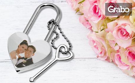 """Магнит или метален катинар """"Сърце"""" със снимка и текст"""